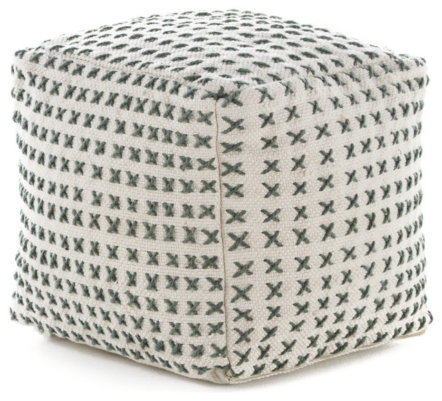 Admirable Gdf Studio Fender Cream And Green Fabric Square Pouf Ottoman Cjindustries Chair Design For Home Cjindustriesco