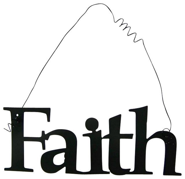 Inspirational Word FAITH Wall Hanging Home Decor Metal - Traditional ...