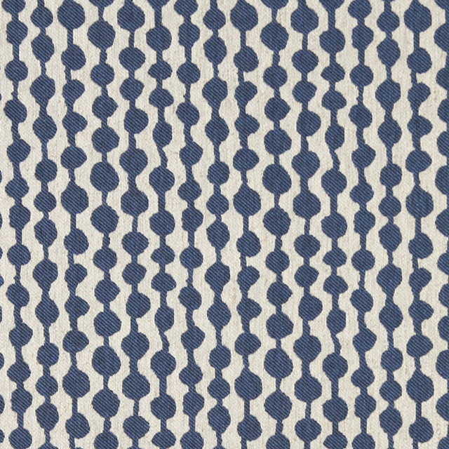 Blue And Off White Circle Striped Linen Look Upholstery Fabric By
