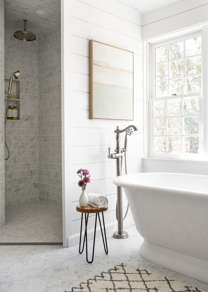 Inspiration for a large cottage master gray tile and porcelain tile porcelain tile, gray floor and double-sink bathroom remodel in Boston with shaker cabinets, green cabinets, a two-piece toilet, white walls, a drop-in sink, quartz countertops, white countertops and a built-in vanity
