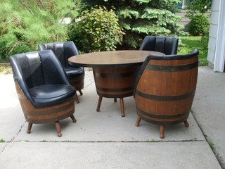 Vintage Oak Barrel Table And Chairs
