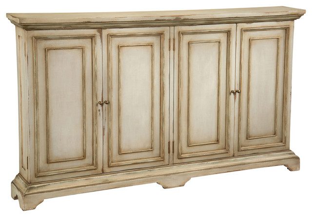 Reynaud French Country Antique Linen Tall Door Cabinet.