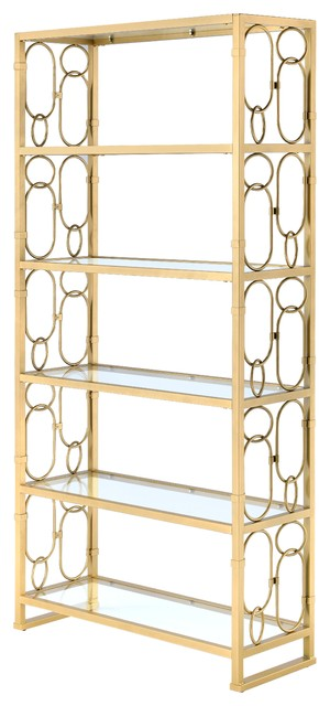 Julos Etagere Bookcase, Clear Glass And Gold.