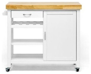 Denver White Modern Kitchen Cart, Butcher Block Top
