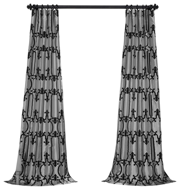 "Royal Flocked Faux Silk Single Panel Curtain, Silver/black, 50""x96""."