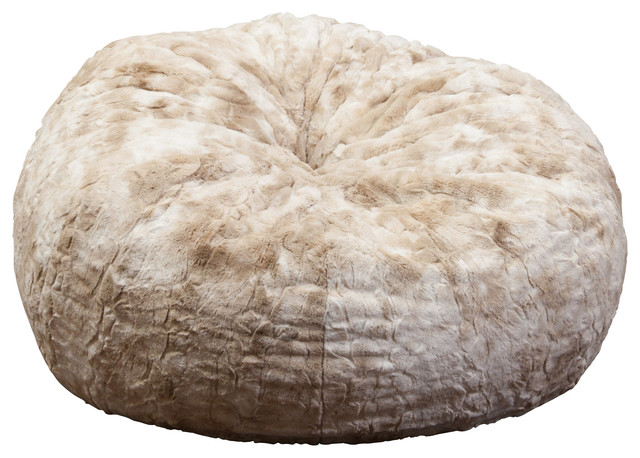 Roa 3 Foot Fur Bean Bag Beige White Faux