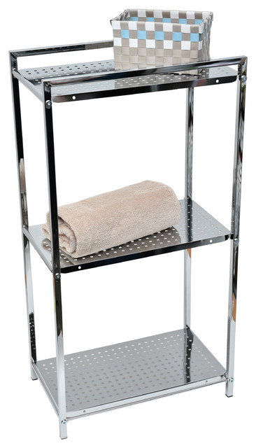 Metal Square Tube Storage Floor Cabinet Tower Storage 3 Shelves Color Chrome - Contemporary ...