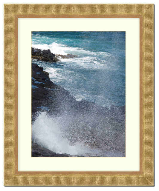 Wall Picture Frame Gold Ribbed with a white acid-free matte ...