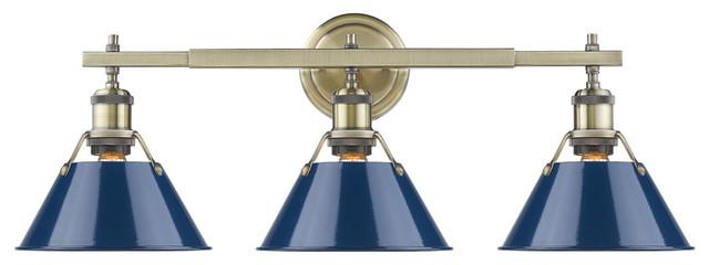 Orwell 3-Light Bath Vanity, Aged Brass With Navy Blue Shade