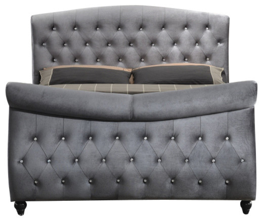 Florin Velvet Sleigh Bed Gray Queen