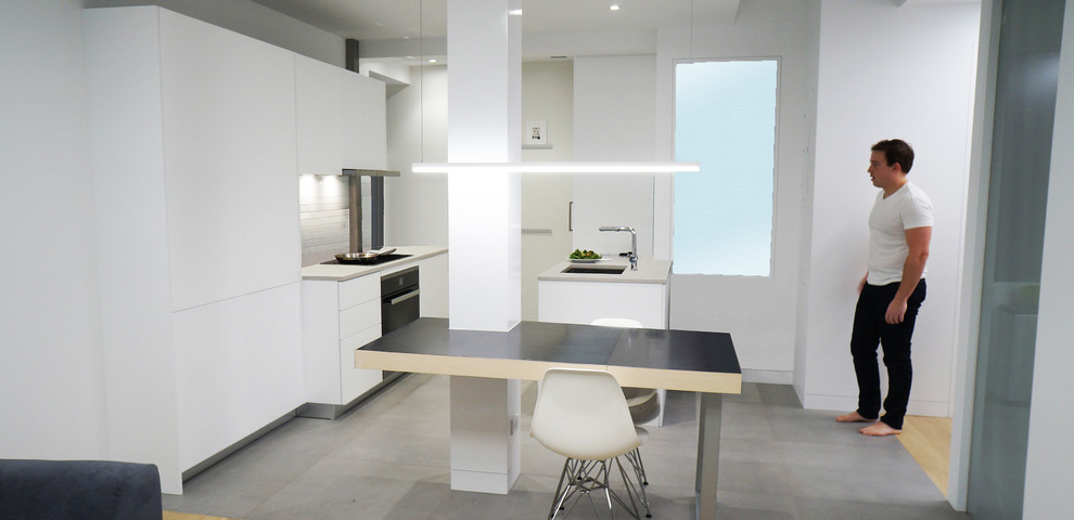 Compact White Kitchen with Custom Expandable Island