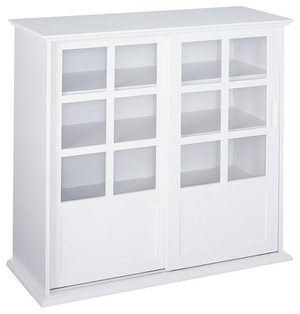 Brecker Sliding Door China Curio, White Corner Curio Cabinet With Glass Doors