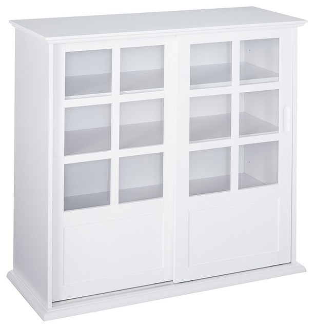 Wood Curio Cabinet With Glass Sliding Doors Transitional China