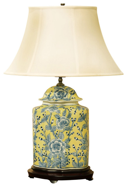 Blue And Yellow Porcelain Jar Lamp With Silk Shade Asian