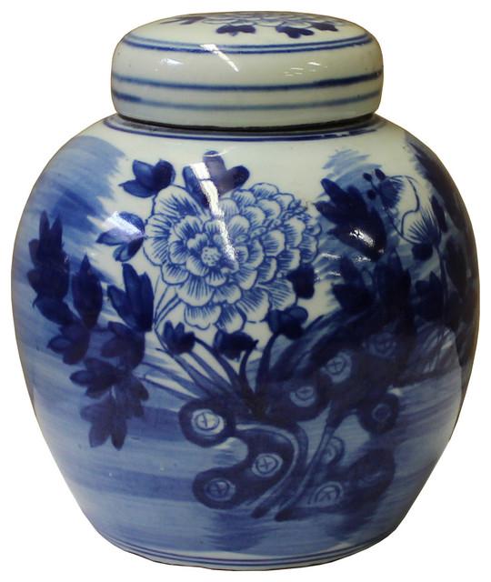 Chinese Oriental Small Blue White Porcelain Ginger Jar Hcs3432