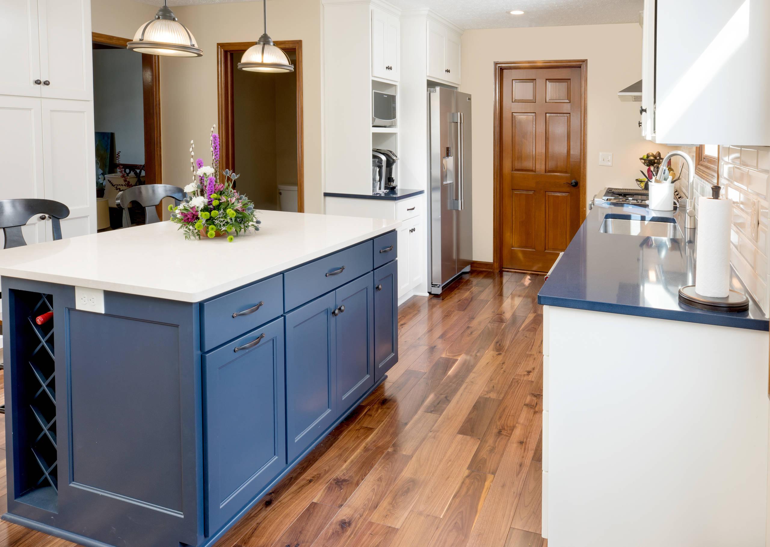 Transitional Blue Island Kitchen