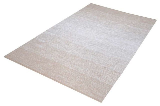 Delight Handmade Cotton Rug, Beige And White, 5&x27;x8&x27;.