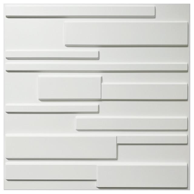 "20""x20"" Art3d White Wall Panels Brick Design 3d Wall Panels, White, Set Of 12. -1"