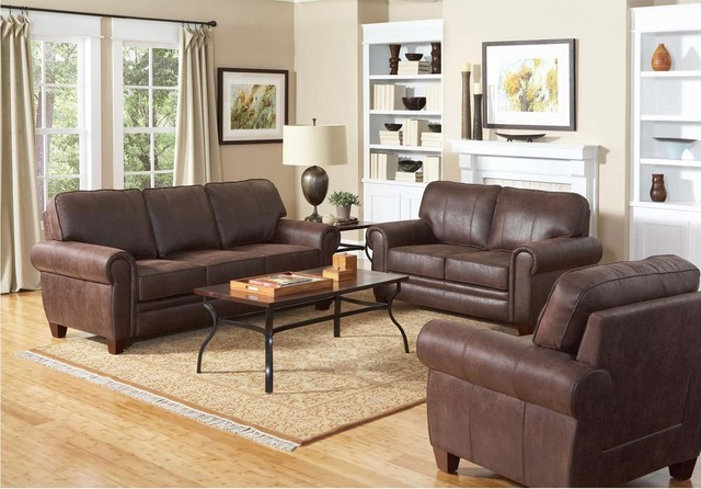 Coaster Traditional Brown Coated Microfiber Sofa Couch Loveseat Chair  Contemporary Sofas