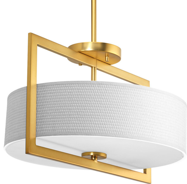 Harmony 3-Light Convertible Medium Semi-Flush Natural Brass White Textured Glass.