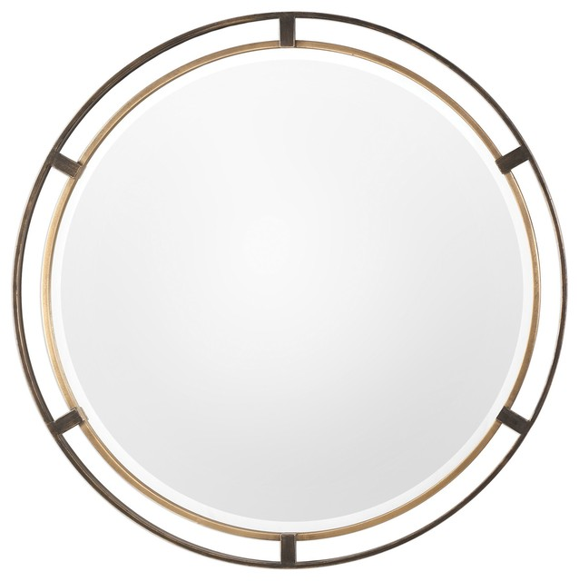 Carrizo Distressed Bronze And Antiqued Gold Round Wall Mirror.