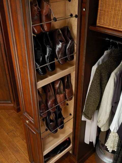 Closet with Pullout Tower for Shoes - Traditional - Closet ...