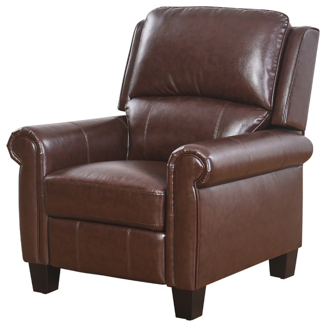 Fine Abbyson Living Leonard Pushback Leather Recliner Brown Gmtry Best Dining Table And Chair Ideas Images Gmtryco