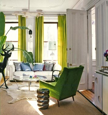 dominomag- green living room eclectic living room