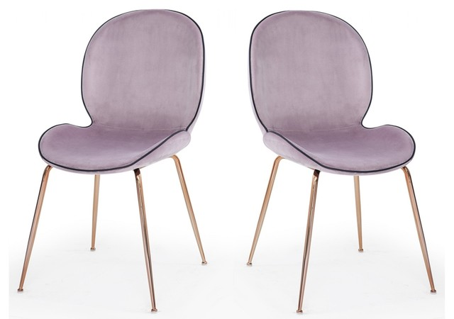 Modrest Wendy Modern Pink Velvet Rosegold Dining Chair Set Of 2