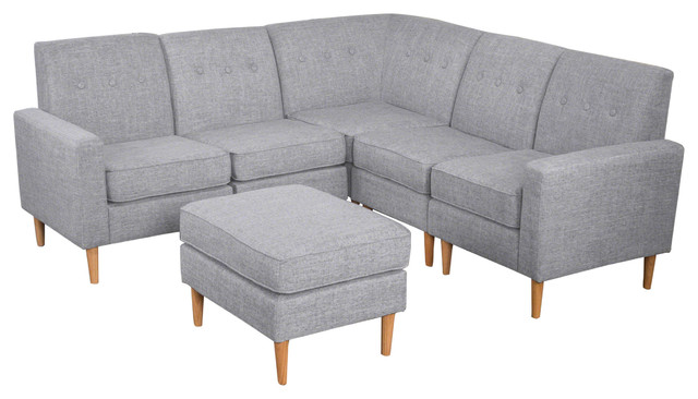 Samuel Mid Century 6 Piece Tweed Fabric Sectional Sofa Set Light Gray
