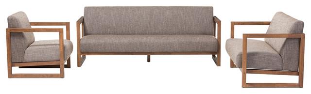 Valencia Walnut Wood Finished Gravel Fabric Upholstered 3-Piece Living Room Set.