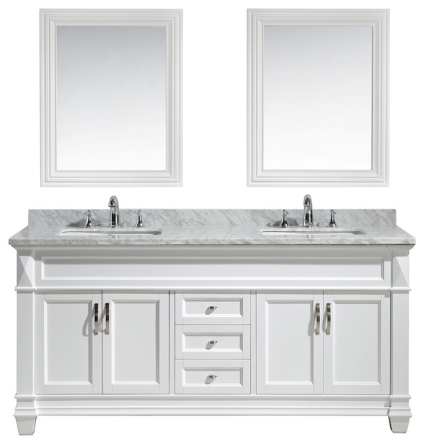 Hudson 72  Double Sink Vanity Set  White With Carrara Marble Countertop  traditional bathroom. Hudson 72  Double Sink Vanity Set  White With Carrara Marble