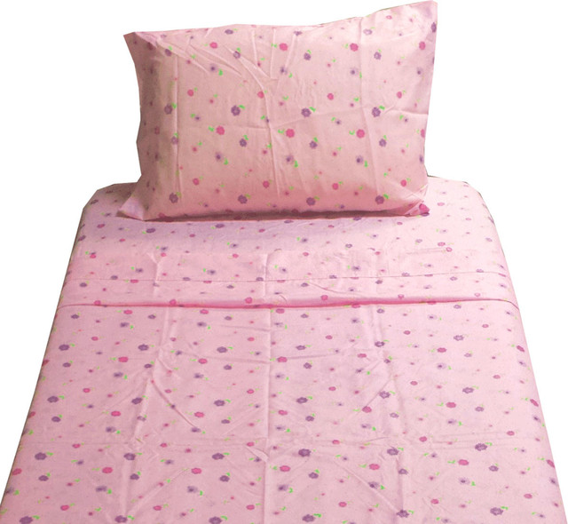 Houzz Spring Landscaping Trends Study: Dotted Flowers Twin Sheet Set Pink Floral Bedding