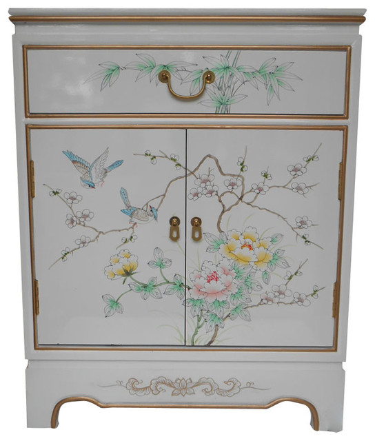 Oriental Cabinet Antique Style Gold Leaf Hand Painted Floral, White  Asian Accent