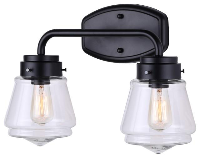 timeless design 6a27f db7d4 Canarm Lochlan 2-Light Vanity-Light With Clear Glass, Matte Black Finish