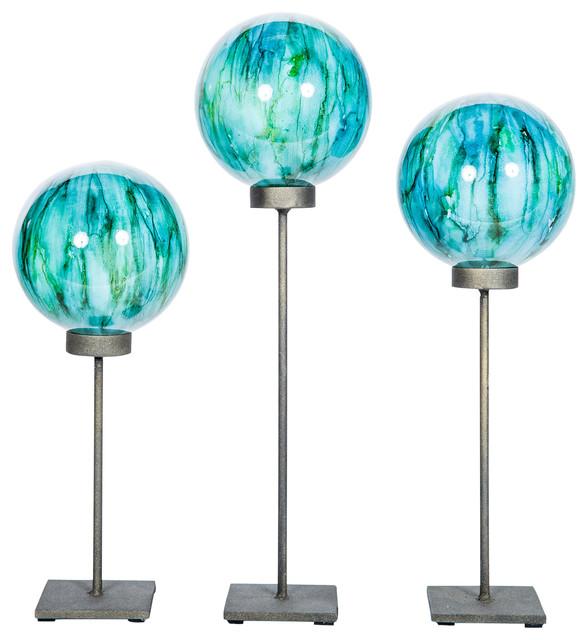 Decorative Glass Spheres Stand Lake Como Finish, 3 Piece Set