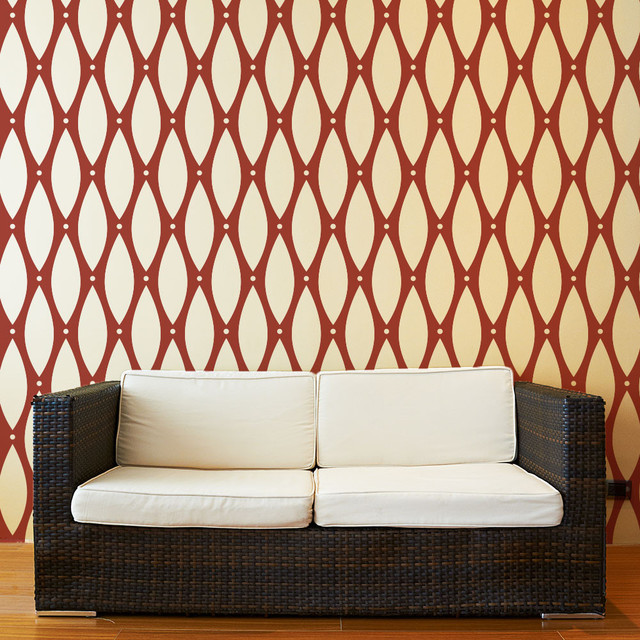 Beaded Pattern Wall Stencil for Painting - Contemporary - Wall ...