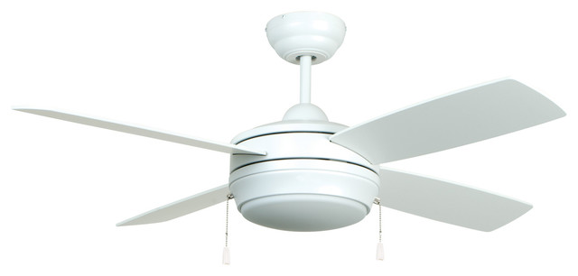 """Laval 44"""" Ceiling Fan, Matte White With Matte White Blades And White Glass."""