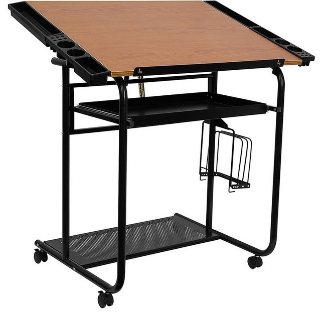 Adjustable Drawing And Drafting Table With Black Frame And Dual Wheel Casters.