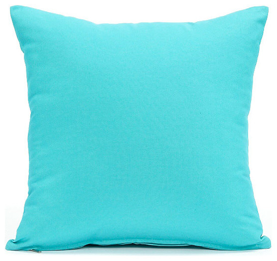 solid aqua blue pillow cover 16x16 contemporary decorative pillows - Blue Decorative Pillows
