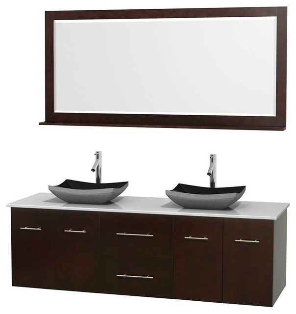 Wyndham Collection Bathroom Vanity Set In Espresso With Altair Black Granite