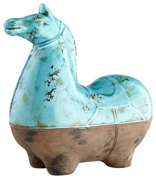 Cyan Lighting 15 25 Large Cavallo Sculpture Blue Glaze Finish