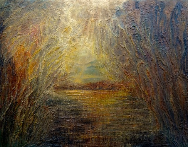 Sunrise By BA Wygant Studio Abstract Expressionist Oil Paintings Rustic