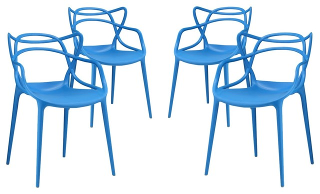 Modern Contemporary Urban Outdoor Dining Chair Set, Set Of 4, Blue, Plastic.