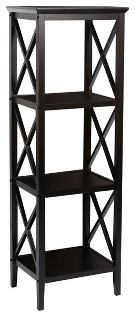 Riverridge Home X- Frame Collection, 4-Shelf Storage Tower, Espresso.