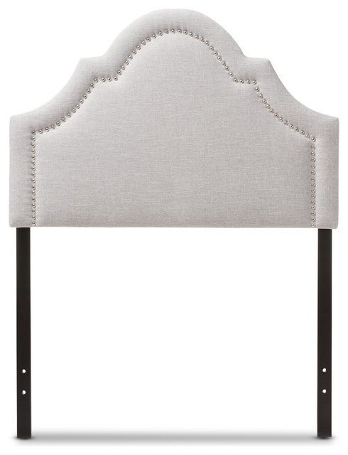Rita Fabric Upholstered Headboard, Grayish Beige, Twin.
