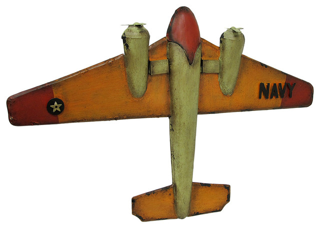 Vintage Navy Style Aircraft Metal Military Airplane Wall