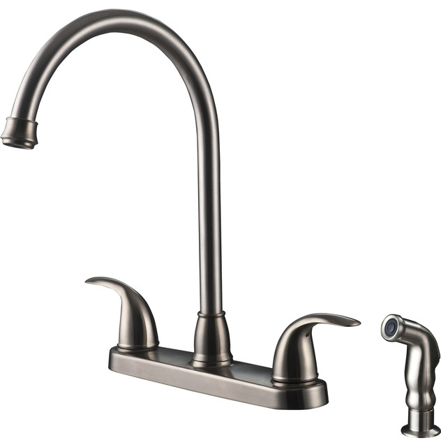 Shop Houzz Ultra Faucets Ultra Faucets Two Handle Stainless Steel Kitchen Faucet With Side
