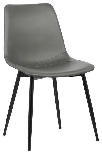 monte dining chair in gray faux leather with black powder coated metal legs