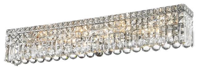 Bathroom Vanity Lights Chrome Finish cascade 8-light chrome finish crystal vanity light wall sconce